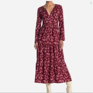 Free People large plum tiered floral dress